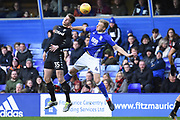 Leeds United midfielder Conor Shaughnessy (35) battles with Birmingham City defender Marc Roberts (4) 0-0 during the EFL Sky Bet Championship match between Birmingham City and Leeds United at St Andrews, Birmingham, England on 30 December 2017. Photo by Alan Franklin.