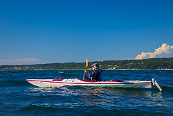 North America, United States, Washington, Whidbey Island, Langley, woman in kayak MR