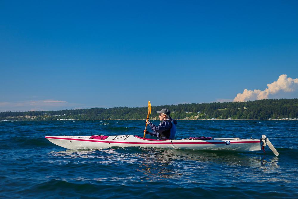 North America, United States, Washington, Whidbey Island, Langley, woman in kayak MR