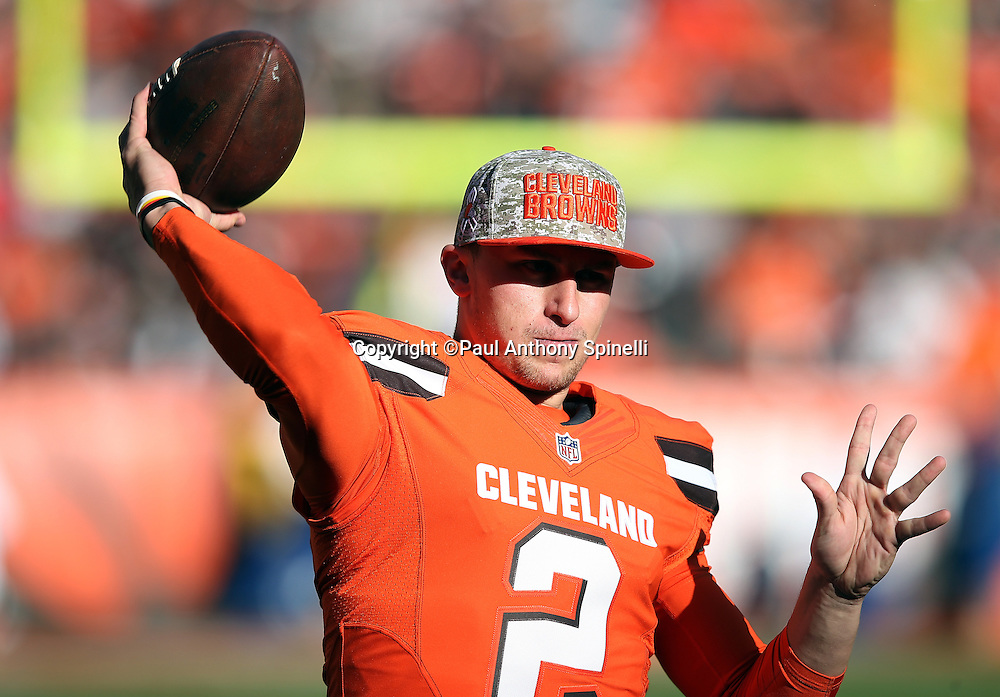 Cleveland Browns quarterback Johnny Manziel (2) throws a sideline pass during halftime during the 2015 week 8 regular season NFL football game against the Arizona Cardinals on Sunday, Nov. 1, 2015 in Cleveland. The Cardinals won the game 34-20. (©Paul Anthony Spinelli)