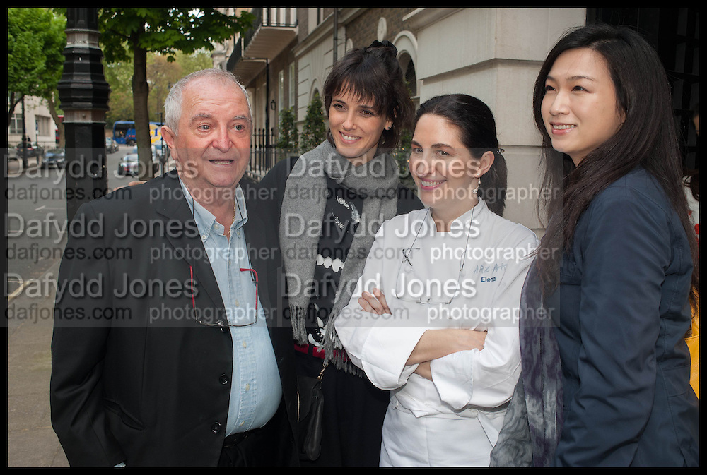 JUAN MARI ARZAK; HELENA RIZZO; ELENA ARZAK; LANSHU CHEN;  , Veuve Clicquot World's Best Female chef champagne tea party. Halkin Hotel. Halkin St. London SW1. 28 April 2014.