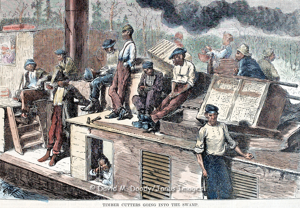 Great Dismal Swamp, Virginia.Harper's Weekly 1873  page 505 19th century newspaper illustration.transportation, canal, barge, boat, timber, work, blacks, African-American.