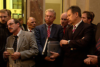26 NOV 2003, BERLIN/GERMANY:<br /> Roland Koch (L), CDU, Ministerpraesident Hessen, Volker Kauder (M - halb verdeckt), CDU, 1. Parl. Geschaeftsfuehrer der CDU/CSU BT-Fraktion, und Gerhard Statthaus (R), CDU, Finanzminister Baden-Wuerttemberg, verfolgen ein Pressestatement von W ilhelm S chmidt, SPD, nach der Sitzung des Vermittlungsauschusses zwischen Bundestag und Bundesrat, Bundesrat<br /> IMAGE: 20031126-01-016