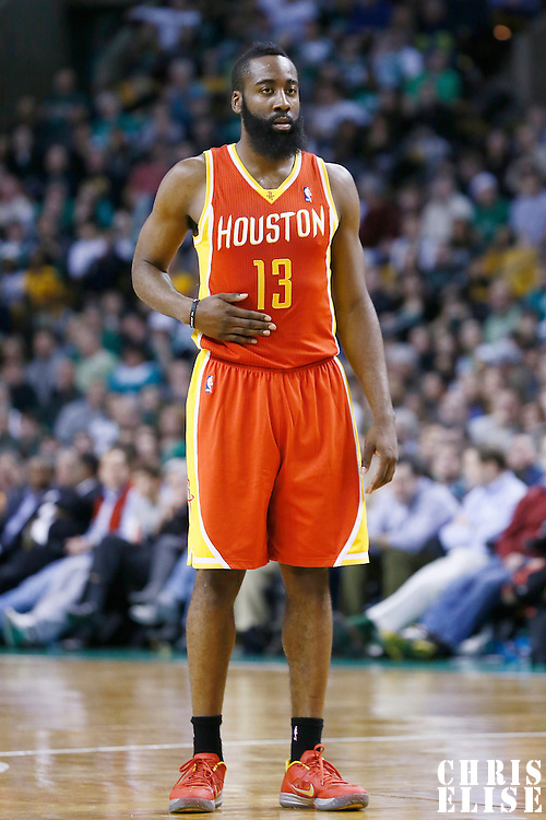 11 January 2013: Houston Rockets shooting guard James Harden (13) rests during the Boston Celtics 103-91 victory over the Houston Rockets at the TD Garden, Boston, Massachusetts, USA.