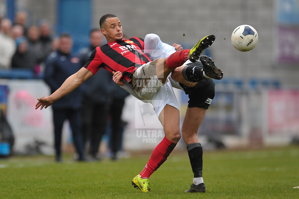 TELFORD COPYRIGHT MIKE SHERIDAN Tre Mitford of Kettering  during the Vanarama Conference North fixture between AFC Telford United and Kettering at The New Bucks Head on Saturday, March 14, 2020.<br /> <br /> Picture credit: Mike Sheridan/Ultrapress<br /> <br /> MS201920-050