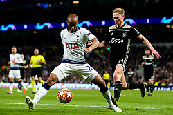 Lucas of Tottenham Hotspur takes on Frenkie de Jong of Ajax - Mandatory by-line: Robbie Stephenson/JMP - 30/04/2019 - FOOTBALL - Tottenham Hotspur Stadium - London, England - Tottenham Hotspur v Ajax - UEFA Champions League Semi-Final 1st Leg