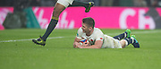Twickenham, United Kingdom.  Owen FARRELL drops down to score a second half try, Springbok,  JP PIETERSEN, jumping over him,  during the Old Mutual Wealth Series match.: England vs South Africa, at the RFU Stadium, Twickenham, England, Saturday, 12.11.2016<br /> <br /> [Mandatory Credit; Peter Spurrier/Intersport-images]