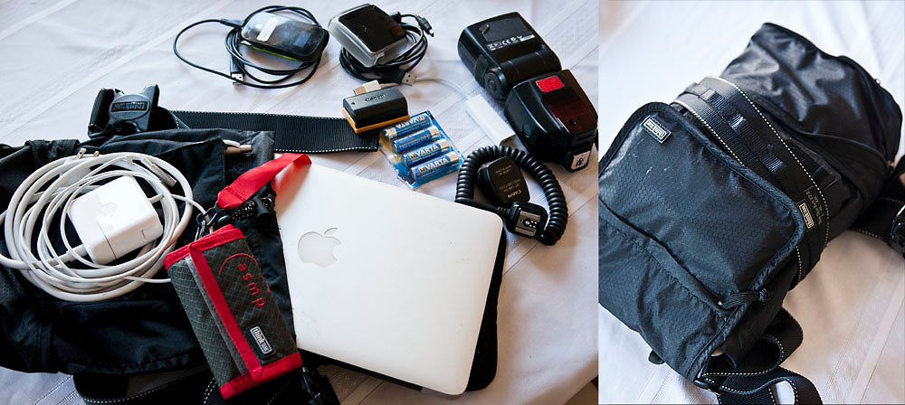 The ThinkTank Photo Skin Chimp Cage pouch, expanded, with the skin belt system, ASMP Pixel Pocket Rocket, an 11'' MacBook Air with charger, Lexar USB Card Reader, Canon 5D MkII battery, USB Ethernet Adapter, AA batteries, Canon 580EX II Flash, TTL Cable, and MiFi hotspot. © 2012 Patrick T. Fallon