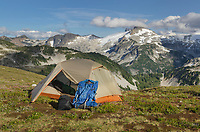 Backcountry camp on Red Face Mountain, Eiley-Wiley Ridge  seen in the distance, North Cascades National Park Washington