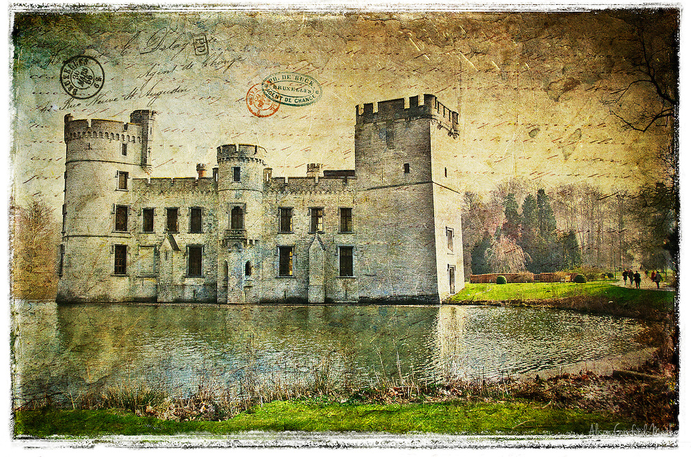 Bouchout Castle, Kasteel van Bouchout in Dutch, is located in the town of Meise, near Brussels, and is now at the centre of the National Botanical Garden of Belgium. Although the castle has been heavily restored, I felt the classic architecture lends itself well to the Forgotten Postcards treatment.
