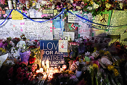 Flowers, notes and candles are piled high at a vigil on Yonge Street in Toronto, Tuesday, April 24, 2018. Ten people were killed and 14 were injured in Monday's deadly attack in which a van struck pedestrians in northern Toronto, ON, Canada. Photo by Galit Rodan/CP/ABACAPRESS.COM