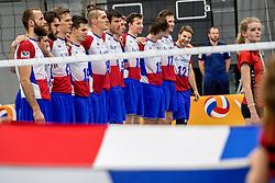 12-05-2017 NED: Nederland - Tsjechië, Amstelveen<br /> De Nederlandse volleybal mannen spelen hun eerste oefeninterland in de Emergohal in Amstelveen tegen Tsjechië. Deze wedstrijd staat in het teken van de verplaatsing van het Bankrasmomument. Nederland speelde daarom in speciale oude Nederlandse shirts uit 1992 / Team Tsjechië