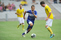 FOOTBALL - FRENCH CHAMPIONSHIP 2011/2012 - L2 - FC NANTES v SC BASTIA - 05/08/2011 - PHOTO PASCAL ALLEE / DPPI - JEROME ROTHEN (BAS) / JORDAN VERETOUT (FCN)