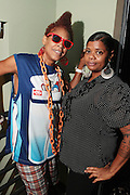 September 22, 2012- Los Angeles, CA:  (L-R)Recording Artist Medusa and Mixx Mistress backstage at the Lyricist Lounge 20th Year Reunion Party-Los Angeles held at Club Nokia at LA Live on September 22, 2012 in Los Angeles, California. The Lyricist Lounge is a hip hop showcase of rappers, emcees, DJ's, and Graffiti artists. It was founded in 1991 by hip hop aficionados Danny Castro and Anthony Marshall. It was a series of open mic events hosted in a small studio apartment in the Lower East Side section of New York City.(Terrence Jennings)