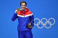Øystein BRÅTEN, 1. Platz, Goldmedaillengewinner, Gold, Goldmedaille, Olympiasieger, Jubel, jubelt, Freude, Begeisterung, Emotion, jubeln, cheers, Freestyle Skiing - Men s Ski Slopestyle. Siegerehrung, Victory Ceremony, PyeongChang Olympic Medals Plaza am 18.02.2018.