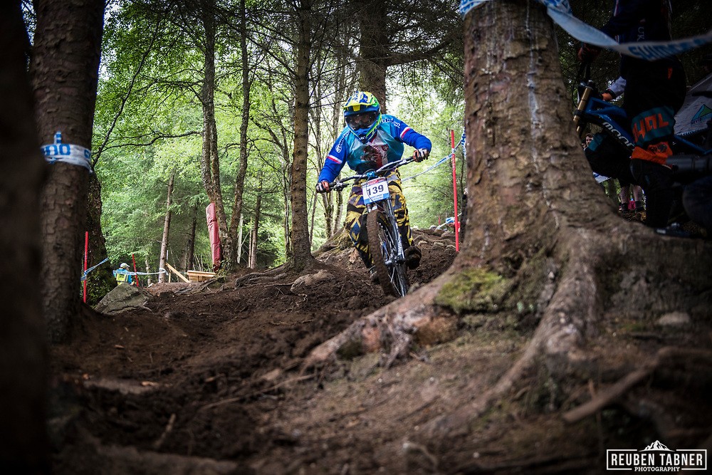 Ondrej Barta finding his way in through the woods during his qualifying round at the UCI Mountain Bike World Cup in Fort William, Scotland.