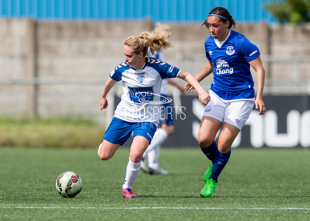 Beth Hepple (Durham Womens FC) controls the ball shadowed by Jessica King (Everton Ladies) during the FA Women's Super League match between Durham Women FC and Everton Ladies at New Ferens Park, Belmont, United Kingdom on 30 August 2015. Photo by George Ledger.