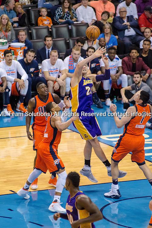 OKLAHOMA CITY, OK - OCTOBER 30:   Los Angeles Lakers Center Timofey Mozgov (20) looks to tip a rebound versus Oklahoma City Thunder. October 30, 2016, at the Chesapeake Energy Arena Oklahoma City, OK. (Photo by Torrey Purvey/Icon Sportswire)