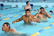 Warriors pool session after training at Carisbrook, Moana pool, Dunedin, New Zealand, Friday, February 20, 2013. Credit:NINZ / Dianne Manson.