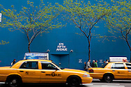 New york - fifth avenue. blue wall and works . / mur bleu et travaux  sur la cinquieme avenue . Manhattan.