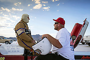 Image of two guys at the Bonneville Speedway, Utah, American Southwest
