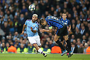 Manchester City forward Sergio Aguero (10) and Atalanta defender Rafael Toloi (2)  during the Champions League match between Manchester City and Atalanta at the Etihad Stadium, Manchester, England on 22 October 2019.