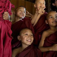 Myanmar (Burma). Bagan. Young monks at school.