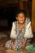 Village elder in her bure; Navala Village, Viti Levu Island, Fiji.
