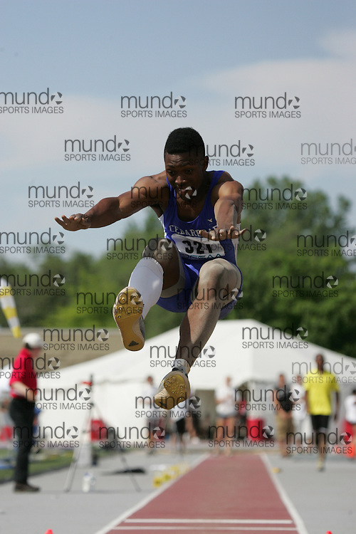 (London, Ontario}---05 June 2010) Arren Young of Cedarbrae  - Scarborough    competes in the senior boys long jump at the 2010 OFSAA Ontario High School Track and Field Championships in London, Ontario,  June 05, 2010. Photograph copyright Laura Barclay / Mundo Sport Images, 2010.