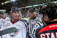 KELOWNA, CANADA - OCTOBER 21: Carson Focht #17 of the Tri-City Americans trash talks Riley Stadel #3 of the Kelowna Rockets on October 21, 2016 at Prospera Place in Kelowna, British Columbia, Canada.  (Photo by Marissa Baecker/Shoot the Breeze)  *** Local Caption ***