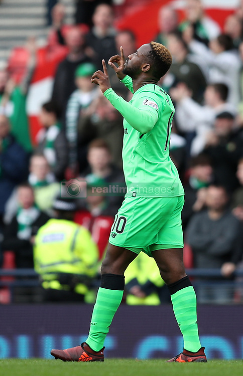 Celtic's Moussa Dembele celebrates scoring his side's fourth goal of the game during the Betfred Cup, semi-final match at Hampden Park, Glasgow.