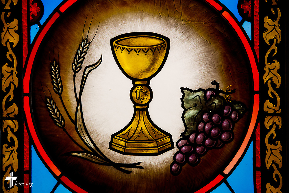 Stained glass with the Sacrament at St. Thomas Lutheran Church, Baltimore, on Saturday, March 24, 2018. LCMS Communications/Erik M. Lunsford