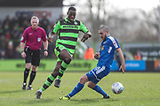 Forest Green Rovers Isaiah Osbourne(34) skips past Notts County Liam Noble(18) during the EFL Sky Bet League 2 match between Forest Green Rovers and Notts County at the New Lawn, Forest Green, United Kingdom on 10 March 2018. Picture by Shane Healey.