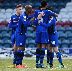 Rochdale's Scott Tanser celebrates scoring the opening goal  - Photo mandatory by-line: Matt McNulty/JMP - Mobile: 07966 386802 - 17.01.2015 - SPORT - Football - Rochdale - Spotland Stadium - Rochdale v Crawley Town - Sky Bet League One