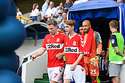 Middlesbrough Midfielder Grant Leadbitter (7) walks onto the pitch ahead of the EFL Sky Bet Championship match between Millwall and Middlesbrough at The Den, London, England on 4 August 2018. Picture by Stephen Wright.