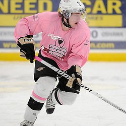TRENTON, ON - Feb 14 : Ontario Junior Hockey League game action between the Trenton Golden Hawks and the Wellington Dukes, Tyler Donaldson #11 of the Trenton Golden Hawks Hockey Club during the pre-game warm-up<br /> (Photo by Amy Deroche / OJHL Images)