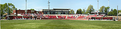 18 April 2010: Panoramic view of Duffy Bass Field through a hole in the center field fence.  Southern Illinois Salukis and the Illinois State Redbirds face off on Duffy Bass Field on the campus of Illinois State University in Normal Illinois.<br />