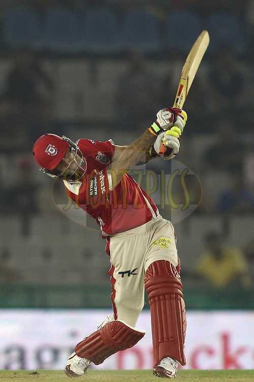 Glenn Maxwell of the Kings XI Punjab hits over the top during match 2 of the Oppo Champions League Twenty20 between the Kings XI Punjab and the Hobart Hurricanes held at the Punjab Cricket Association Stadium, Mohali, India on the 18th September 2014<br /> <br /> Photo by:  Shaun Roy / Sportzpics/ CLT20<br /> <br /> <br /> Image use is subject to the terms and conditions as laid out by the BCCI/ CLT20.  The terms and conditions can be downloaded here:<br /> <br /> http://sportzpics.photoshelter.com/gallery/CLT20-Image-Terms-and-Conditions-2014/G0000IfNJn535VPU/C0000QhhKadWcjYs