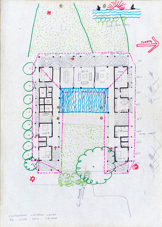 Drawing of Mirissa Hills house for Miles Young by Anjalendran.