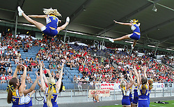 13.07.2011, UPC Arena, Graz, AUT, American Football WM 2011, Group B, Japan (JAP) vs Canada (CAN), im Bild stunt from the cheerleader // during the American Football World Championship 2011 Group B game, Japan vs Canada, at UPC Arena, Graz, 2011-07-13, EXPA Pictures © 2011, PhotoCredit: EXPA/ T. Haumer