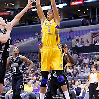 25 May 2014: Los Angeles Sparks forward/center Candace Parker (3) grabs a rebound during the Los Angeles Sparks 83-62 victory over the San Antonio Stars, at the Staples Center, Los Angeles, California, USA.