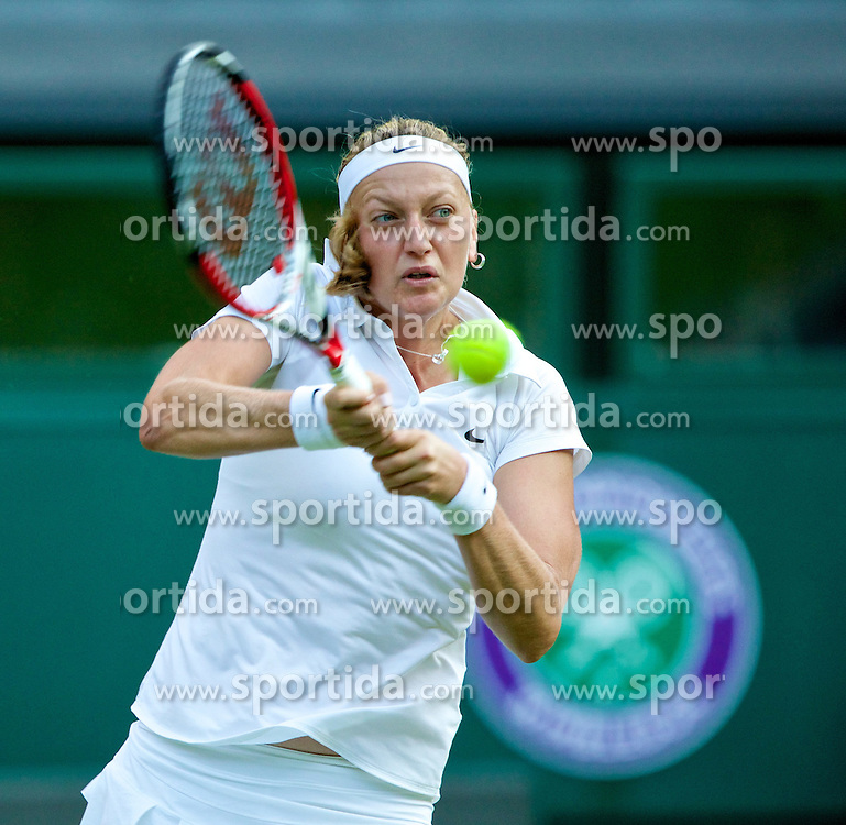 01.07.2014, All England Lawn Tennis Club, London, ENG, WTA Tour, Wimbledon, im Bild Petra Kvitova (CZE) during the Ladies' Singles Quarter-Final match on day eight // during the Wimbledon Championships at the All England Lawn Tennis Club in London, Great Britain on 2014/07/01. EXPA Pictures &copy; 2014, PhotoCredit: EXPA/ Propagandaphoto/ David Rawcliffe<br /> <br /> *****ATTENTION - OUT of ENG, GBR*****
