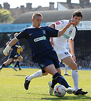 Photo: Ashley Pickering.<br /> Southend United v Colchester United. Coca Cola Championship. 06/04/2007.<br /> Freddy Eastwood of Southend (L) tries to find a way past Pat Baldwin of Colchester