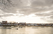 Putney. LONDON. GREAT BRITAIN. Oxford on Middx station, as the flotilla pass the boathouse on Putney Embankment [Hard]. Pre Boat race Fixture, Oxford University Women's Boat Club vs Molesey Boat Club, over the Championship Course, Putney to Mortlake.<br /> <br /> Sunday  28.02.2016<br /> <br /> [Mandatory Credit; Peter SPURRIER/IIntersport Images]