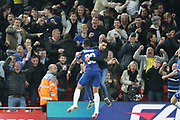 33 Emerson celebrates a goal for Chelsea FC during the EFL Cup match between Liverpool and Chelsea at Anfield, Liverpool, England on 26 September 2018.