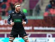 Glasgow Warriors' Rob Harley<br /> <br /> Photographer Simon King/Replay Images<br /> <br /> Guinness PRO14 Round 19 - Scarlets v Glasgow Warriors - Saturday 7th April 2018 - Parc Y Scarlets - Llanelli<br /> <br /> World Copyright © Replay Images . All rights reserved. info@replayimages.co.uk - http://replayimages.co.uk