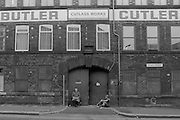 Cutlery workers take a break, George Butler Cutlers Ltd Sydney Street Sheffield 1983. © Martin Jenkinson