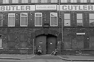 Cutlery workers take a break, George Butler Cutlers Ltd Sydney Street Sheffield 1983. © Martin Jenkinson