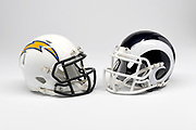 Detailed view of Los Angeles Chargers and Los Angeles Rams  helmets.