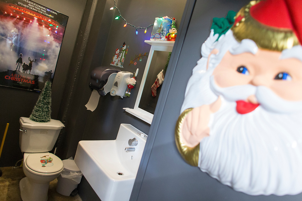 Even the washroom at Bron Studio in London Ontario, is decorated in a movie theme.<br /> Business London/ Geoff Robins